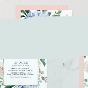 Blue Hydrangeas and Pink Roses Bridal Luncheon Invitation starting at 2.40