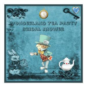 Blue Mad Hatter Wonderland Tea Party Bridal Shower Invitation starting at 2.51