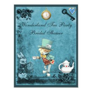 Blue Mad Hatter Wonderland Tea Party Bridal Shower Invitation starting at 2.31