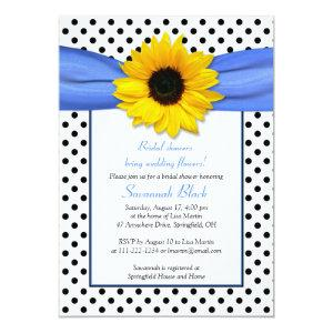 Blue Polka Dot Sunflower Wedding Bridal Shower Invitation starting at 2.66