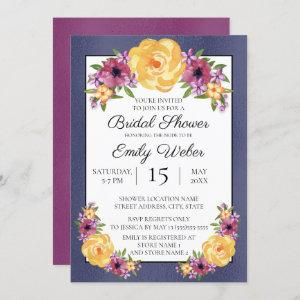 Blue Purple Yellow Floral Bridal Shower Invite starting at 2.55