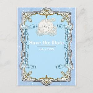 Blue Sparkle Carriage Cinderella Save the Date Announcement Postcard starting at 2.34