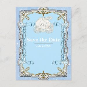 Blue Sparkle Carriage Cinderella Save the Date Announcement Postcard starting at 2.02