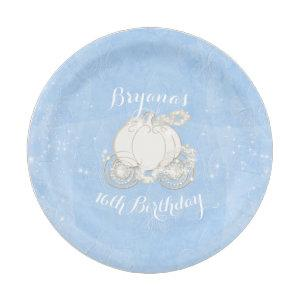 Blue Sparkle Carriage Elegant Cinderella Party Paper Plate starting at 1.90