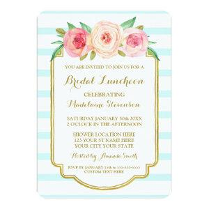 Blue Stripes Gold Pink Floral Bridal Lunch Invitation starting at 2.56