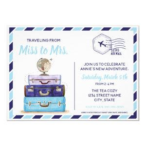 Blue travel theme bridal shower invitation starting at 2.20
