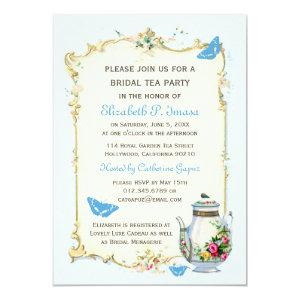 Blue Vintage French Bridal Tea Party Invitation starting at 2.51