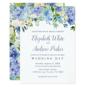 Blue Watercolor hydrangea Floral Wedding Card starting at 2.61