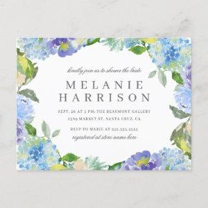 Blue Watercolor Hydrangea Wreath Bridal Shower Invitation Postcard starting at 1.70