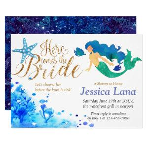 Blue watercolor undersea sweet mermaid golden text invitation starting at 2.55