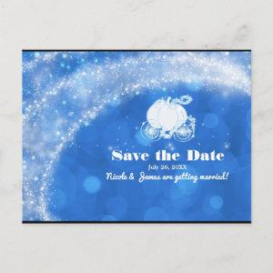 Blue & White Cinderella Carriage Wedding Save Date Announcement Postcard starting at 2.18