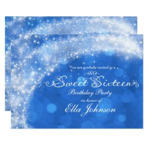 Blue & White Sparkle Cinderella Sweet 16 Party Invitation starting at 2.82