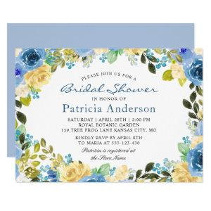 Blue Yellow Floral Botanical Garden Bridal Shower Invitation starting at 2.35