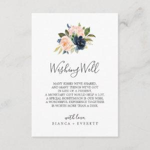 Blush and Navy Flowers Wedding Wishing Well Card starting at 1.91