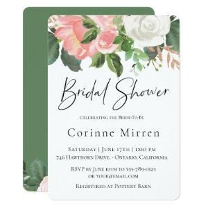Blush and White Floral Bridal Shower Invitation starting at 2.46