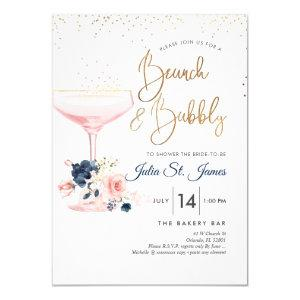 Blush+Blue Flowers Brunch Bubbly Pink Champagne Invitation starting at 2.15