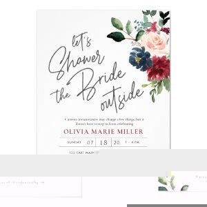 Blush Burgundy and Navy Drive By Bridal Shower Invitation starting at 2.25