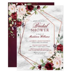 Blush Burgundy Floral Gold Frame Bridal Shower Invitation starting at 2.40