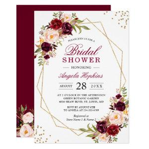 Blush Burgundy Floral Gold Frame Bridal Shower Invitation starting at 2.15
