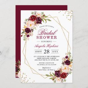 Blush Burgundy Floral Gold Frame Bridal Shower Invitation starting at 2.35