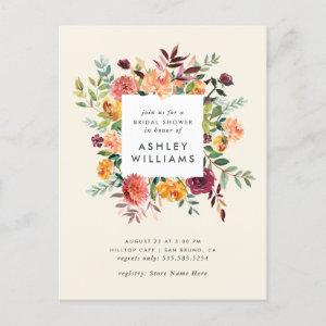 Blush & Burgundy Marsala Floral Bridal Shower Invitation Postcard starting at 1.70
