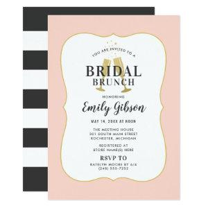 Blush Champagne Toast with Stripes Bridal Brunch Invitation starting at 2.51