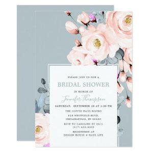 Blush & Dusty Blue Watercolor Floral Bridal Shower Invitation starting at 2.66