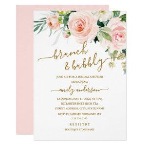 Blush Floral Brunch And Bubbly Bridal Shower Invitation starting at 2.15