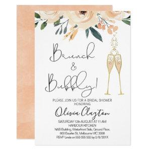 Blush Floral Brunch Bubbly Bridal Shower Invites starting at 2.40