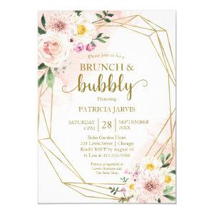 Blush Floral Gold Brunch And Bubbly Bridal Shower Invitation starting at 2.00