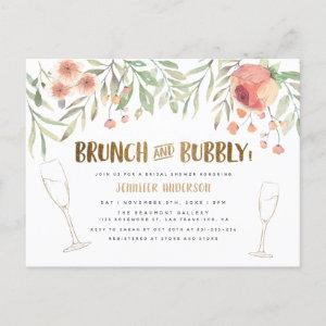 Blush Floral & Gold Brunch & Bubbly Bridal Shower Invitation Postcard starting at 1.70