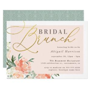 Blush Floral Gold Script Bridal Brunch Invitation starting at 2.40