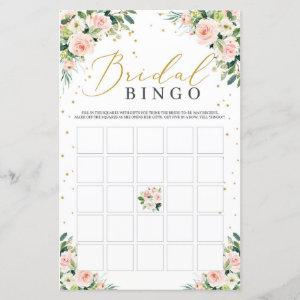 Blush floral green bridal shower bingo game card starting at 0.71