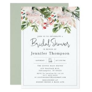 Blush Florals & Greenery Watercolor Bridal Shower Invitation starting at 2.66