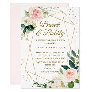 Blush Gold Floral Brunch And Bubbly Bridal Shower Invitation starting at 2.15