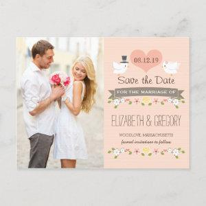 BLUSH LOVE BIRDS DOVE SAVE THE DATE ANNOUNCEMENT POSTCARD starting at 1.80
