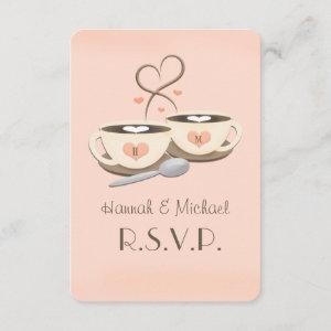 Blush Monogram Heart Coffee Wedding RSVP Cards starting at 2.31
