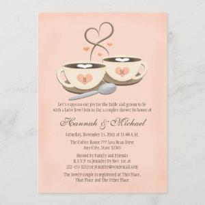 Blush Monogrammed Coffee Cup Heart Couples Shower Invitation starting at 2.66