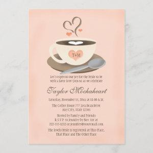 Blush Monogrammed Heart Coffee Cup Bridal Shower Invitation starting at 2.66