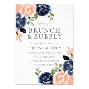 Blush & Navy Flowers Bridal Shower Brunch & Bubbly Invitation starting at 2.40