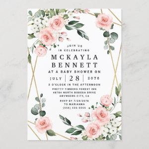 Blush Pink and Gold Floral Greenery Baby Shower Invitation starting at 2.25