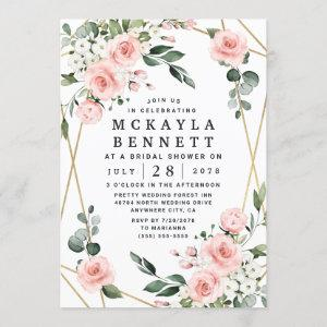 Blush Pink and Gold Floral Greenery Bridal Shower Invitation starting at 2.25