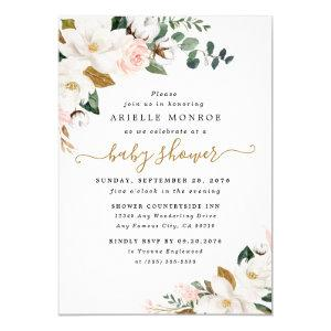 Blush Pink and White Magnolia Floral Baby Shower Invitation starting at 2.25