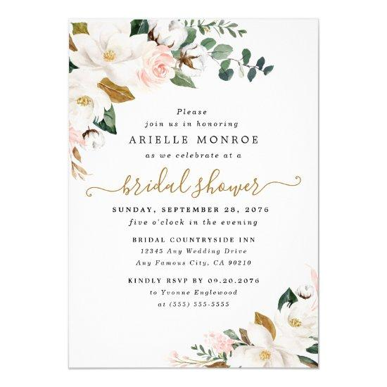 Blush Pink and White Magnolia Floral Bridal Shower
