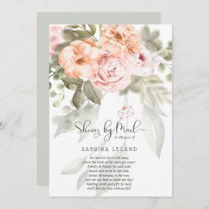 Blush Pink Coral Peonies Shower by Mail Invitation starting at 2.51