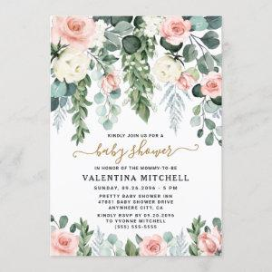 Blush Pink Floral Garden Watercolor Baby Shower Invitation starting at 2.25