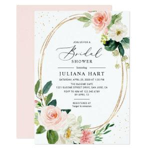 Blush Pink Floral Geometric Frame Bridal Shower Invitation starting at 2.26