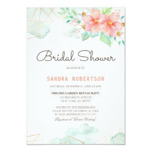 Blush Pink Floral Geometric Lines Bridal Shower Invitation starting at 2.26