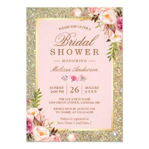 Blush Pink Floral Gold Sparkles Bridal Shower Invitation starting at 2.10