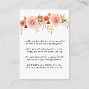 Blush Pink Floral No Wrap Shower request tag 3605b Enclosure Card starting at 0.35